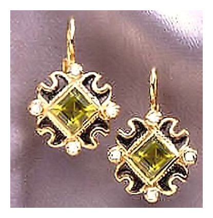 14k Venezia Peridot & Diamond Earrings (.25ct)