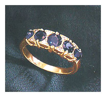 14k Valois Diamond and Sapphire Ring (.08ct)