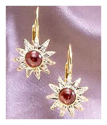 14k Apollo Garnet Diamond Earrings (.33ct)