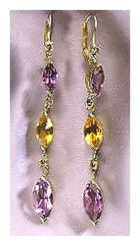 14k La Boheme Amethyst, Citrine, & Diamond Earrings (.60ct)
