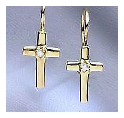 14k St. Diamond Cross Earrings (.10ct)