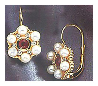 14k Pearl, Ruby, & Diamond Blossom Earrings (.06ct)