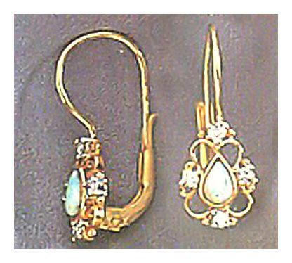 14k Dauphine Opal & Diamond Earrings (.25ct)