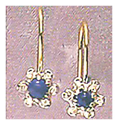 14k Lapis & Diamond Flower Earrings (.07ct)