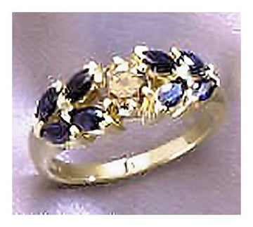 14k Delphine Sapphire and Diamond Ring
