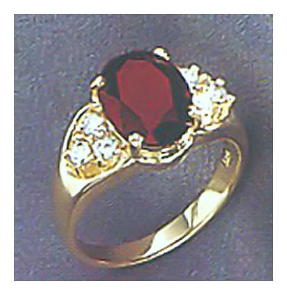 14k Granada Garnet & Diamond Ring