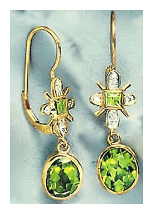 14k Cuchulain Peridot & Diamond Earrings (.08ct)