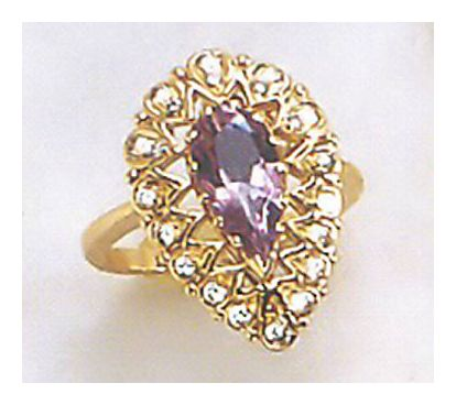 14k Guinevere Amt and Diam Ring (.36ct)