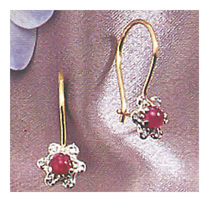 14k Garnet & Diamond Flower Earrings