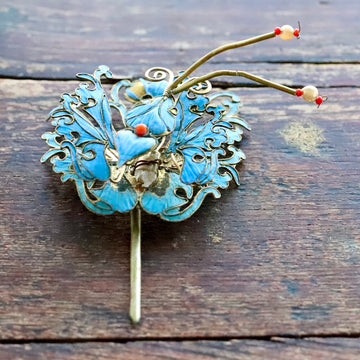 Antique Tian-Tsui (點翠) Hair Pin - Butterflys and Moths