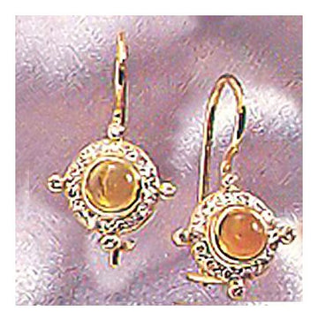 14k Cleopatra Citrine and Diam Earrings (.24ct)