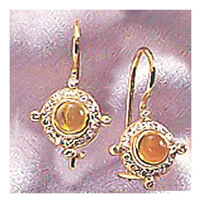 14k Cleopatra Citrine & Diam Earrings (.24ct)