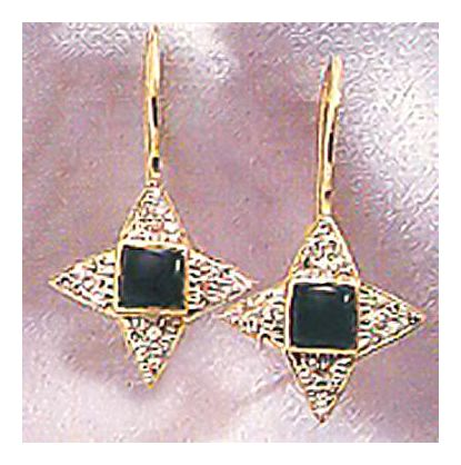 14k Persephone Onyx and Diamond Earrings