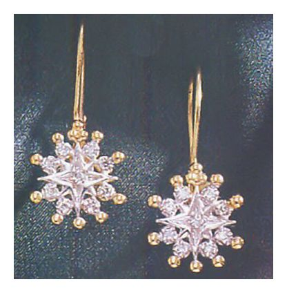 14k Snowflake Diamond Earrings (.19ct)