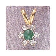 14k Emerald Flower Pendant