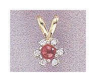 14k Ruby & Diamond Flower Pendant