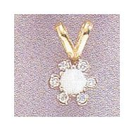 14k Opal + diamonds Flower Pendant
