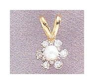 14k Pearl & Diamond Flower Pendant