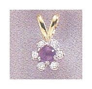 14k Amethyst & Diamond Flower Pendant