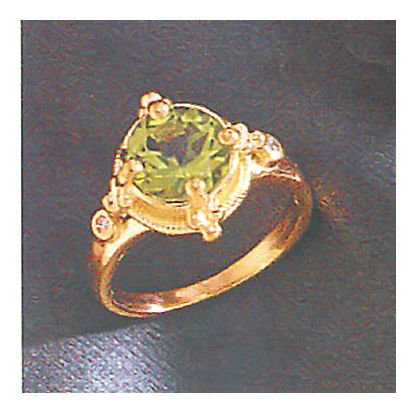 14k La Soleil Peridot & Diamond Ring (.04ct)