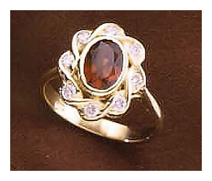 14k Diva Garnet and Diamond Ring