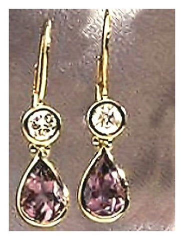 14k Anastasia Amethyst & Diamond Earrings (.50ct)