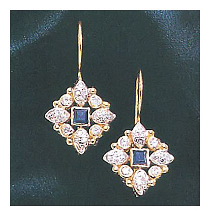 14k Carolingian Sapphire and Diamond Earrings (.50ct)