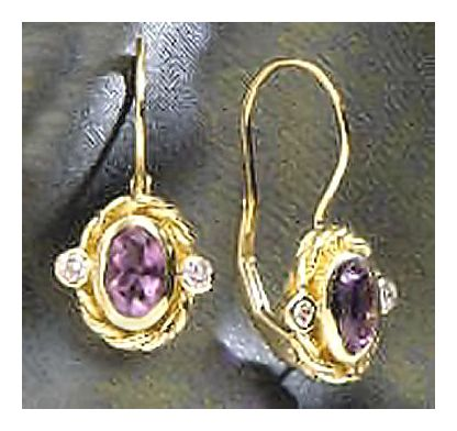 14k Alexandria Amethyst & Diamond Earrings (.10ct)