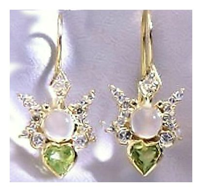 14k Peridot Moonstone and Diamond Butter Earrings (.50ct)