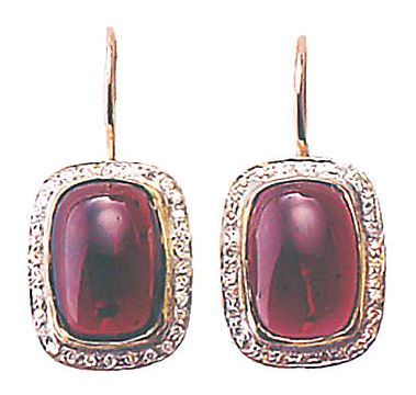 14k Empress Garnet Diamond Earrings (.30ct)