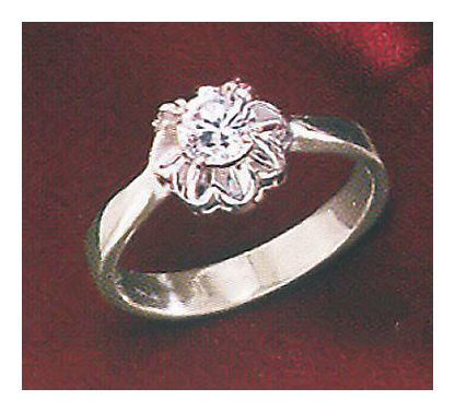 American Beauty 14k White Gold and Diamond Rosette Ring