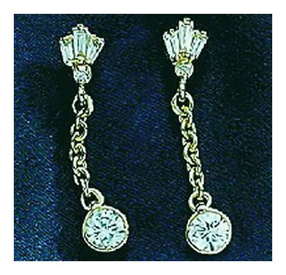 Miley 14k Gold and Diamond Dangle Earrings