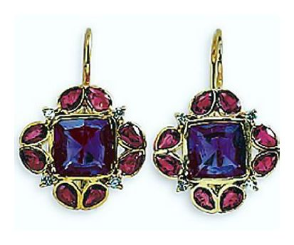 14k Park Avenue Ruby, Amethyst, & Diamond Earrings (.12ct)