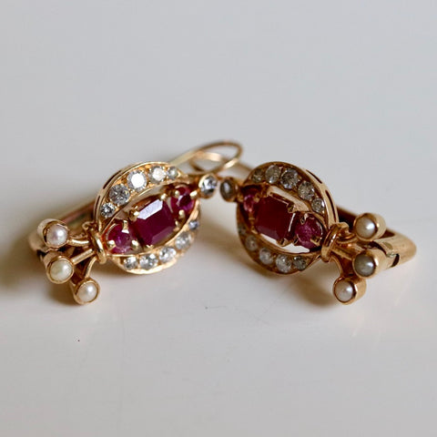 Ruby Diamond and Pearl Earrings
