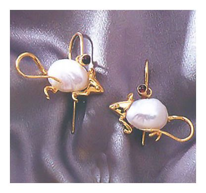 14k White Mice Earrings