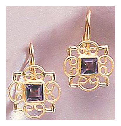 14k Rosette Iolite Earrings