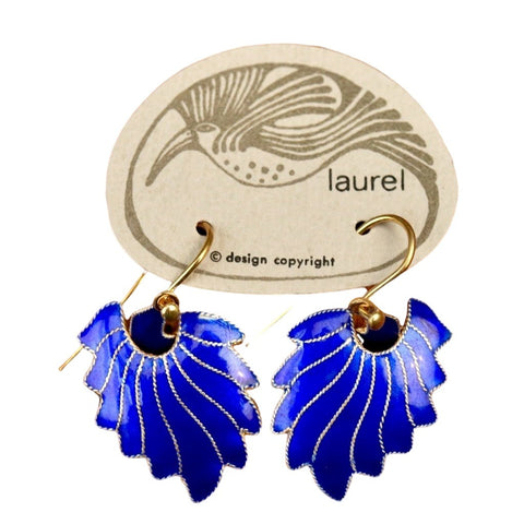 Vintage Laurel Inc Royal Blue Feather Gold-Vermeil Dangles