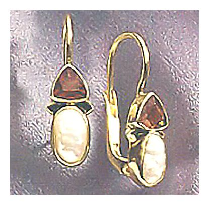 14k Oxford Garnet & Pearl Earrings