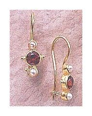 14k Europa Garnet & Pearl Earrings