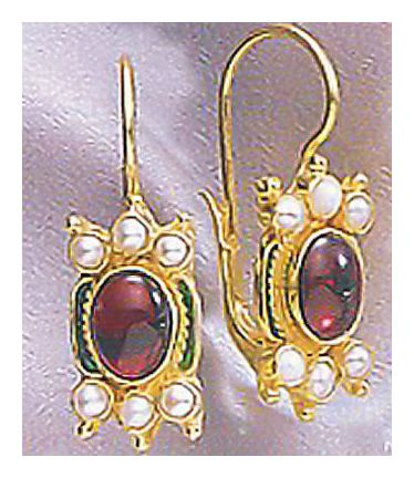 14k Shakespearean Garnet and Pearl Earrings