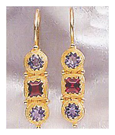 14k Thira Iolite & Garnet Earrings