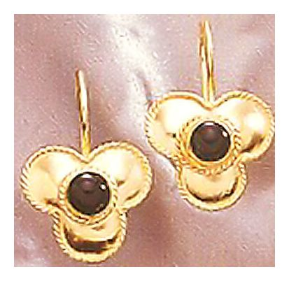 14k Onyx Flower Earrings