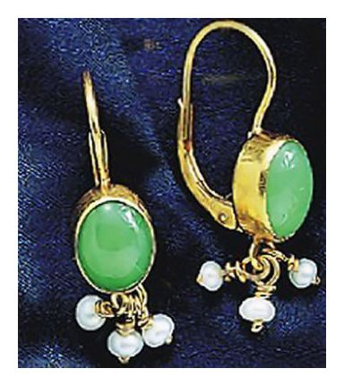 14k Tarantella Chrysoprase & Pearl Earrings