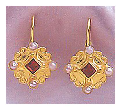 14k Florentine Garnet & Pearl Earrings