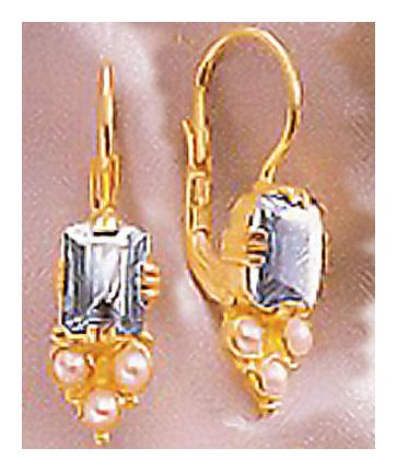 14k Annabel Lee Blue Topaz & Pearl Earrings