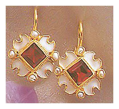 14k Renaissance Garnet & Pearl Earrings