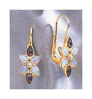 14k Mary Crawford Opal, Garnet and Pearl Earrings
