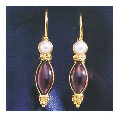 14k Costancia Garnet and Cultured Pearl Earrings