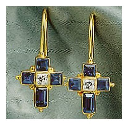14k Galilee Cross Earrings