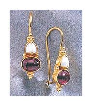 14k Adelaide Armsworthy Garnet & Cultured Pearl Earrings